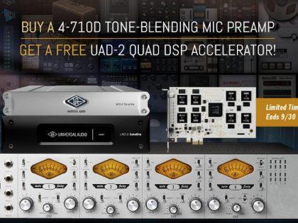Gratis UAD-2 Quad accelator bij aanschaf UA 4-710d mic preamp