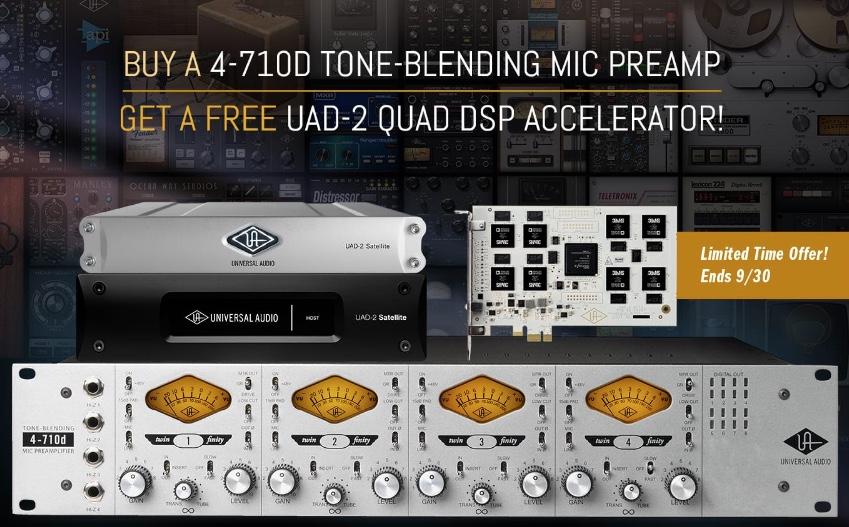 gratis UAD-2 Quad acc bij UA 4-710D